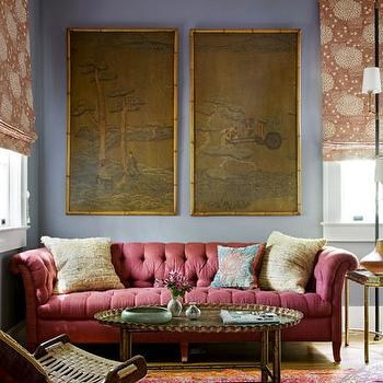 Angie Hranowski - living rooms - blue, walls, silk, wall panels, art, red, tufted, chesterfield, sofa, oval, tray, coffee table, red, orange, rug, chesterfield, chesterfield sofa, tufted chesterfield, tufted chesterfield sofa, chesterfield tufted sofa,
