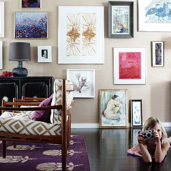 Angie Hranowski - living rooms - mid-century modern, chairs, Hollywood Regency, credenza, eclectic, art gallery, sand, grasscloth, wallpaper, purple rug, David Hicks La Fiorentina - Ivory/Camel, Madeline Weinrib Atelier Grape Otto Rug,