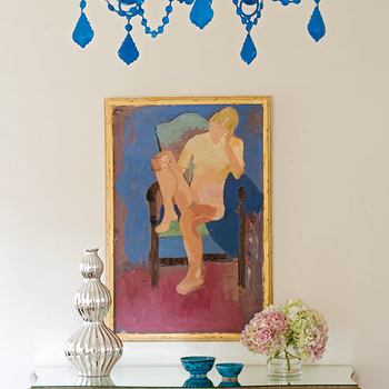 Angie Hranowski - bedrooms - cobalt, blue, chandelier, silver, leaf, chest, silver, gourd, lamp, cobalt blue, cobalt blue chandelier,  Gorgeous