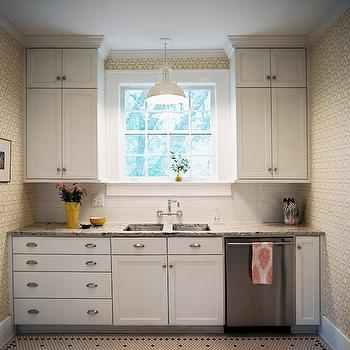 Angie Hranowski - kitchens - white, yellow, geometric, wallpaper, creamy, white, shaker, kitchen cabinets, granite, countertops, subway tiles, backsplash, wall-mount sink, white, vintage pendant, white, black, vintage, hex, tiles, floor, vintage hex floor, vintage hex kitchen floor, vintage hex tile,