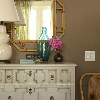 Angie Hranowski - entrances/foyers - ivory, double, gourd, lamp, milk chocolate, brown, walls, wicker, octagon, mirror, pink, accents, octagon mirrors, octagon mirror, bamboo octagon mirror, bamboo octagonal mirror, Somerset Bay Essex Chest - Truffle,