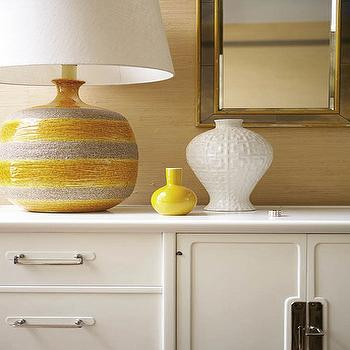 Angie Hranowski - entrances/foyers - yellow, gray, lamp, gold, grasscloth, wallpaper, white, cabinet, credenza, black, gold, mirrors, yellow lamp, yellow and gray lamp,