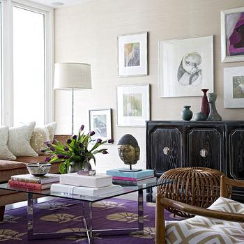 Angie Hranowski - living rooms - sand, grasscloth, wallpaper, black, Hollywood Regency, cabinet, credenza, eclectic, art gallery, mid-century modern, chairs, glass-top, chrome, coffee table, copper, velvet, sofa, purple rug, purple medallion rug, David Hicks La Fiorentina - Ivory/Camel, Madeline Weinrib Atelier Grape Otto Rug,