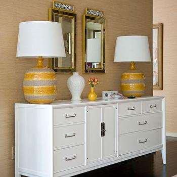 Angie Hranowski - entrances/foyers - yellow, gold, grasscloth, wallpaper, yellow, gray, lamps, white, credenza, cabinet, black, gold, mirrors, white credenza, white cabinet,