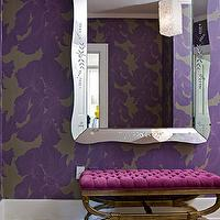 Angie Hranowski - entrances/foyers - purple, gray, floral, wallpaper, ornate, mirror, fuchsia, tufted, vintage, bench, gray, purple, rug, modern floral wallpaper,
