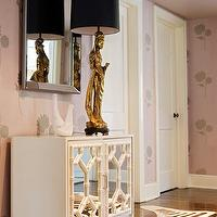 Angie Hranowski - entrances/foyers - zebra, cowhide, rug, white, faux bamboo, mirrored, cabinet, gold, figurine, Hollywood Regency, lamp, beveled, beaded, mirror, pink, wallpaper, faux bamboo chest,