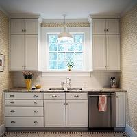 Angie Hranowski - kitchens - white, yellow, geometric, wallpaper, creamy, white, shaker, kitchen cabinets, granite, countertops, subway tiles, backsplash, wall-mount sink, white, vintage pendant, white, black, vintage, hex, tiles, floor,
