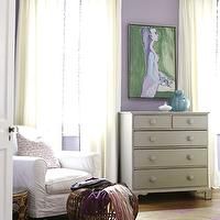 Angie Hranowski - bedrooms - gold, pink, rug, gray, vintage, chest, lilac, walls, white, slipcover, chair,  Sweet lilac bedroom with lilac walls