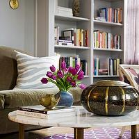 Angie Hranowski - living rooms - gray, walls, gray, built-ins, olive, green, sofa, brass, marble, top, coffee table, Madeline Weinrib Atelier Aubergine Brooke Rug,