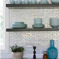 Angie Hranowski - kitchens - black, kitchen cabinets, stainless steel, countertops, black, floating shelves, mosaic, glass, tiles, backsplash, turquoise, blue, vase, iridescent backsplash, iridescent kitchen backsplash, iridescent tile backsplash, iridescent tile, iridescent tile kitchen backsplash,