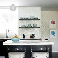 Angie Hranowski - kitchens - vintage, lucite, counter stools, black, kitchen cabinets, black, kitchen island, calcutta Gold, marble, countertops, black, floating shelves, mosaic, glass, linear, tiles, backsplash, pink, blue, silhouette, art, prints,
