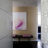 Angie Hranowski - entrances/foyers - marble, slab, wall, white, fretwork, screen, divider, tan, grasscloth, wallpaper, mid-century, bench, hot pink, cushions,