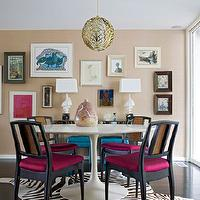 Angie Hranowski - dining rooms - sand, grasscloth, wallpaper, eclectic, art gallery, brass, vintage, pendant, black, dining chairs, upholstered, silk, fuchsia, fabric, zebra, cowhide, rug, mirrored, console, table, silk, teal, blue, Hollywood Regency, tufted, ottomans, Saarinen Dining Table,