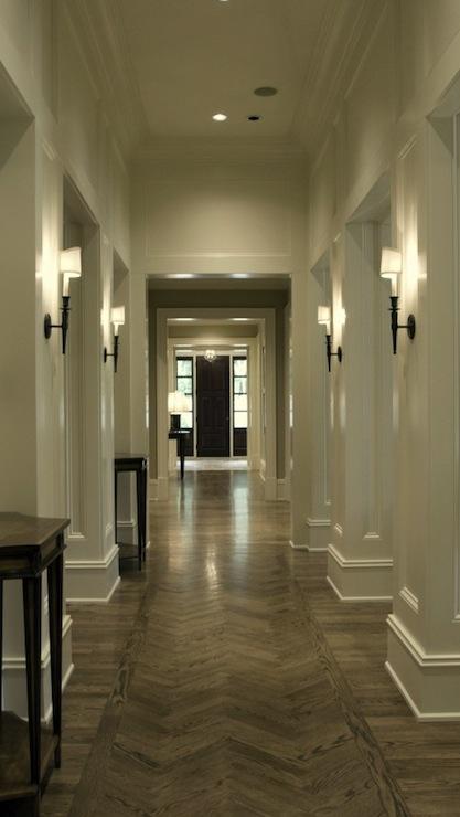 Herringbone wood floor traditional entrance foyer - Lighting ideas for halls and foyers ...
