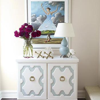 Massucco Warner Miller - entrances/foyers - white, blue, chest, jacks, double gord lamp, blue double gourd lamp,  Whimsical foyer with Robert