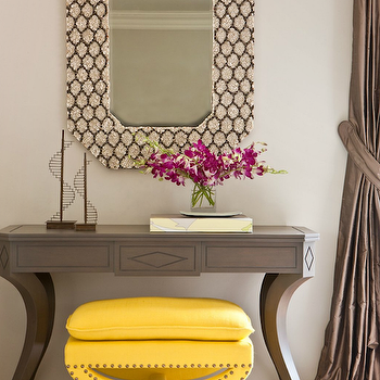 Massucco Warner Miller - entrances/foyers: tan, brown, mirror, wood, console, table, canary, yellow, linen, ottoman, French brass, tacks, chocolate, brown, silk, drapes, gray console tabel, grey console table,