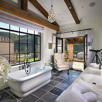Forest Studio - bathrooms - rustic, wood beams, freestanding, tub, slate, tiles, floor, wingback chair, French doors, double bathroom vanity, espresso, wood, bathroom, mirrors, master bathroom, master bedroom bathroom, luxurious master bathroom,