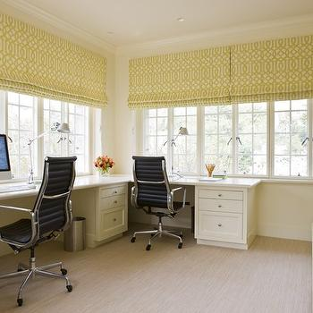 Massucco Warner Miller - dens/libraries/offices - fabric, roman shades, glossy, chartreuse, built-ins, desks, Eames, aluminum, management, chairs, trellis roman shades, imperial trellis roman shades, yellow trellis roman shades, Kelly Wearstler Imperial Trellis Citrine,