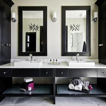 Palmer Todd - bathrooms - glossy, black, cabinets, flanking, black, double bathroom vanity, marble, countertop, white, vessel, sinks, marble, tiles, floor, black, mirrors, double vanity, double vanity ideas, double bathroom vanity, double bathroom vanities, black bathroom vanity, black bathroom vanities, black double vanity, black double vanities, black double bathroom vanity, black double bathroom vanities,