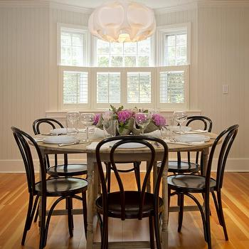 Schranghamer Design Group - dining rooms - beadboard, walls, salvaged wood, round, dining table, glossy, black, Vienna, chairs, bentwood chairs, black bentwood chairs, bentwood dining chairs,