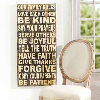 Family Rules Wall Hanging, Wall Art, Wisteria