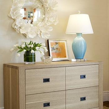 Massucco Warner Miller - bedrooms - tan, walls, tan, wedding circles, rug, 4 drawer, dresser, blue, lamp coco mirror, Made Goods Round Coco Mirror,