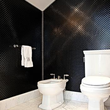 Elizabeth Kimberly Design - bathrooms - black, penny, tiles, black, rout, backsplash, bidet, marble, tiles, floor, monogrammed, towel, black and white bathroom,