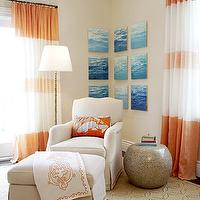 Massucco Warner Miller - bedrooms - tan, walls, white, orange, drapes, art, tan, wedding circles, rug, ivory, skirted, chair, ottoman, peacock feather, ribbon, trim, stone, accent table, orange curtains, orange drapes, orange window panels, orange and white curtains, orange and white drapes, orange and white window panels, striped curtains, horizontal striped curtains,
