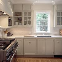 Moroso Construction - kitchens - U, shaped, light, gray, kitchen cabinets, marble, countertops, marble, slab, backsplash, pot filler,  Beautiful