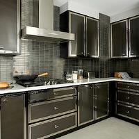 Darci Hether - kitchens - glossy, black, modern, kitchen cabinets, marble, countertops, black, stacked, tiles, backsplash, double ovens,  Bold