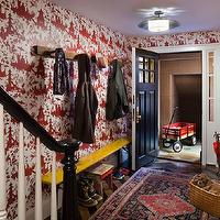CWB Architects - entrances/foyers - white, red, chinoiserie, toile, wallpaper, , glossy, black, hand rail, white, wood, spindles, rustic, coat rack, black, door, red wallpaper, toile wallpaper, red toile wallpaper, chinoiserie wallpaper, red chinoiserie wallpaper,