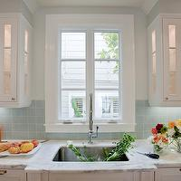 Massucco Warner Miller - kitchens - gray, walls, white, glass-front, raised panel, kitchen cabinets, marble, countertops, blue, square, glass, stacked, tiles, backsplash, blue backsplash, blue tile backsplash, blue tile kitchen backsplash, blue kitchen backsplash,