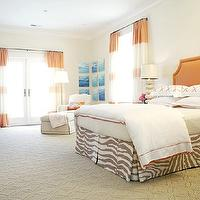 Massucco Warner Miller - bedrooms - clipped corners, orange, headboard, nailhead trim, stacked, sea urchins, lamp, white, gray, zebra, bedskirt, white, orange, lattice, shams, white, hotel duvet, orange, stitching, gray, Moroccan, table, nightstand, tan, walls, tan, wedding, circles, rug, orange headboard,