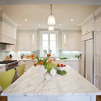 Massucco Warner Miller - kitchens - gray, walls, white, raised panel, kitchen cabinets, kitchen island, marble, countertops, blue, square, stacked, glass, tiles, backsplash, glass, pendants, wood panel, appliances,