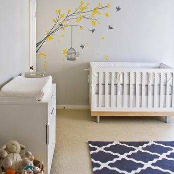 Turquoise LA - nurseries - gray, walls, white, modern, crib, yellow, gray, wall mural, blue gray nursery, blue and gray nursery, gray blue nursery, gray and blue nursery, Overstock Hand-hooked Alexa Moroccan Trellis Rug,