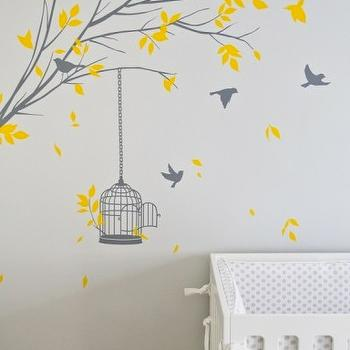 Turquoise LA - nurseries - yellow, walls, yellow, gray, tree branch, wall mural, white, crib, treel mural, tree wall mural, wall stencil, tree wall stencil, tree stencil for wall,