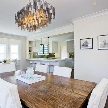 Amoroso Design - dining rooms - ivory, walls, capiz, chandelier, salvaged wood, dining table, white, slipcover, dining chairs, bay windows, built-in, banquette, capiz chandelier, rectangular capiz chandelier, gray capiz chandelier,