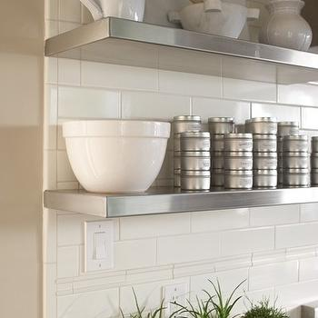 Amoroso Design - dining rooms - quartz, countertop, subway tiles, backsplash, stainless steel, floating shelves, stacked, tin, spice canisters, stainless steel shelves, stainless steel floating shelves,