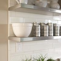 Amoroso Design - dining rooms - quartz, countertop, subway tiles, backsplash, stainless steel, floating shelves, stacked, tin, spice canisters,