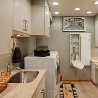 Drury Designs - laundry/mud rooms - craft room, gray, walls, ivory, cabinets, stone, countertops, white, font-load, washer, dryer, wall-mounted, ironing board, cabinet,