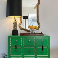 Turquoise LA - entrances/foyers - gold, mirror, kelly, green, Dorothy Draper, chest, Chinese, figurine, lamp, black, shade, wood, tray dorothy draper chest, green chest, green dorothy draper chest, hollywood regency chest,