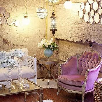 living rooms - purple, purple sofa, purple velvet sofa,  LOVE this living room!  LOVE LOVE LOVE!