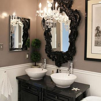 bathrooms - black, white, chandelier, bathroom, rococo mirror, black rococo mirror,  Beautiful Black and White Bathroom with Chandelier