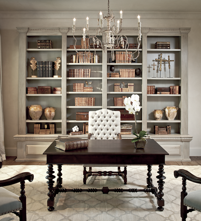 The Owen Group - dens/libraries/offices - Sherwin Williams - Ermine - tan, walls, distressed, gray, built-ins, glossy, black, desk, gray, moorish tiles, white, camelback, tufted, chair, office, distressed cabinets, distressed built ins, distressed built in cabinets,