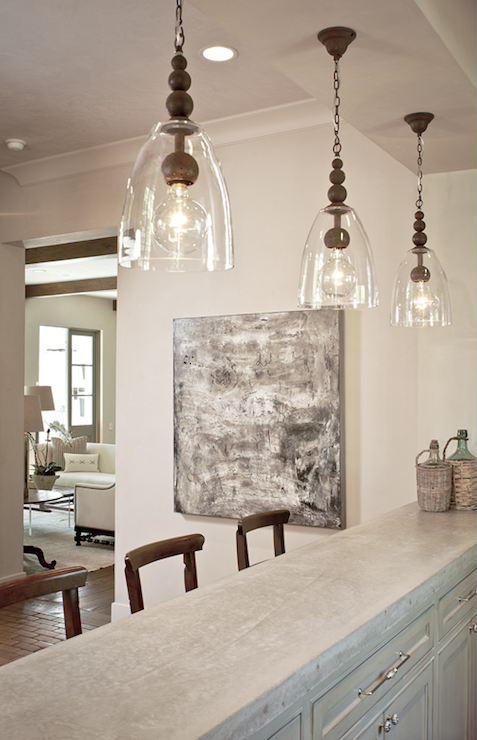 Concrete countertops transitional media room the owen group - Clear glass pendant lights for kitchen island ...