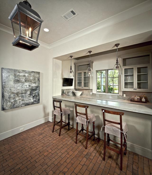 interior brick floor transitional media room the. Black Bedroom Furniture Sets. Home Design Ideas