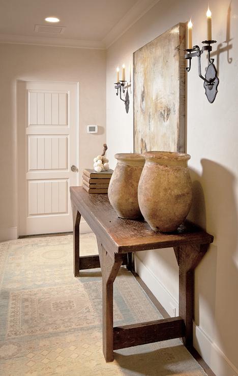 Elegant Foyer Table Decor : Rustic wood console table transitional entrance foyer