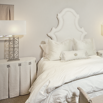 The Owen Group - bedrooms - Custom Creations Furniture, white, headboard, crisp, white, bedding, linen, oval, skirted, tables, nightstands, windows, burlap, shades, french, burlap, bench, skirted table, skirted bedside table, skirted nightstand,