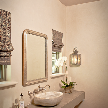 The Owen Group - bathrooms - concrete, floating, sink, vessel, sink, wall-mount, faucet kit, mirror, flanked, mirrors, gray, roman shades, floating vanity, concrete vanity, concrete floating vanity, concrete floating bathroom vanity,