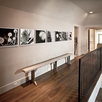 The Owen Group - entrances/foyers - tan, walls, black, white, photo gallery, narrow, French, linen, bench, nailhead trim, slim bench, hallway bench, slim hallway bench,